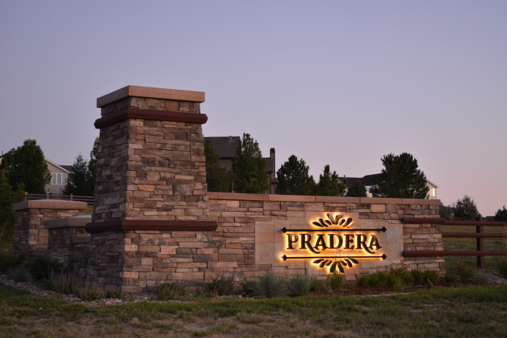 Pradera Halo Lighted Letters Monument Sign